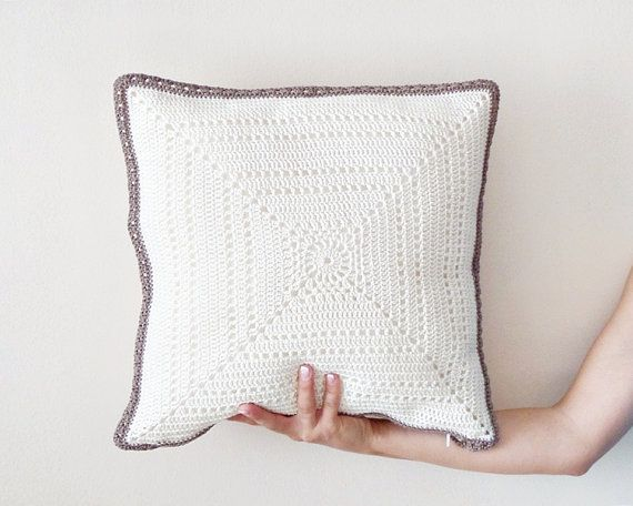 Ivory pillow cover crochet pillowcase throw pillow by DiaCrochets