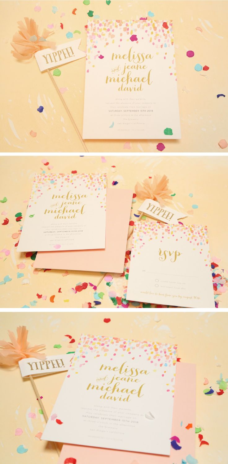 Jeweled Love Confetti Invitation! Hooray! - Smitten on Paper