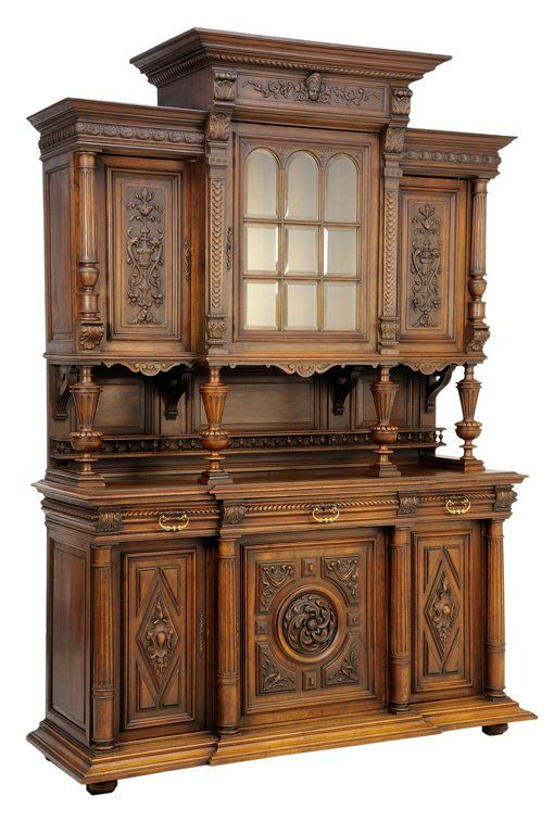 A RENAISSANCE REVIVAL WALNUT BUFFET A DEUX CORPS : Lot 71