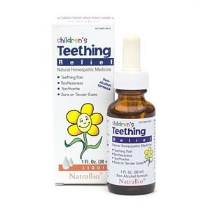 Natrabio Children's Homeopathic Teething Relief drops provides relief for the symptoms of teething pain, restlessness, toothache and sore or tender gums.  It is a natural homeopathic remedy with chamomile.