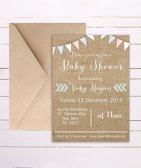 Rustic Bunting Baby Shower Invitation
