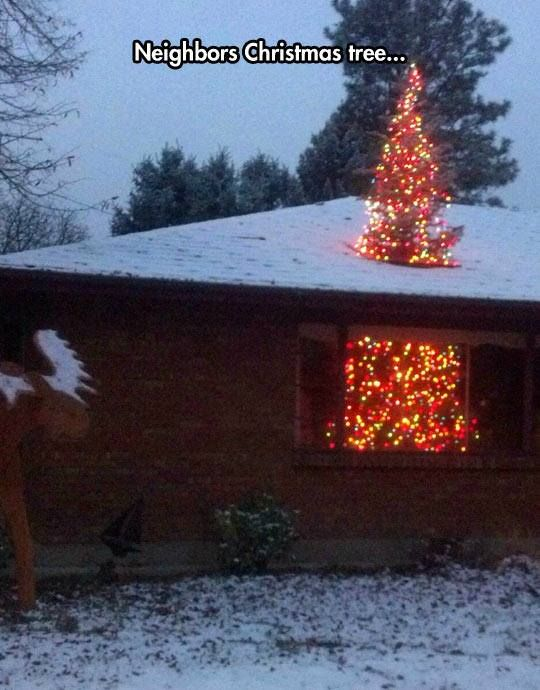 Christmas tree 'busting' through roof is a hit