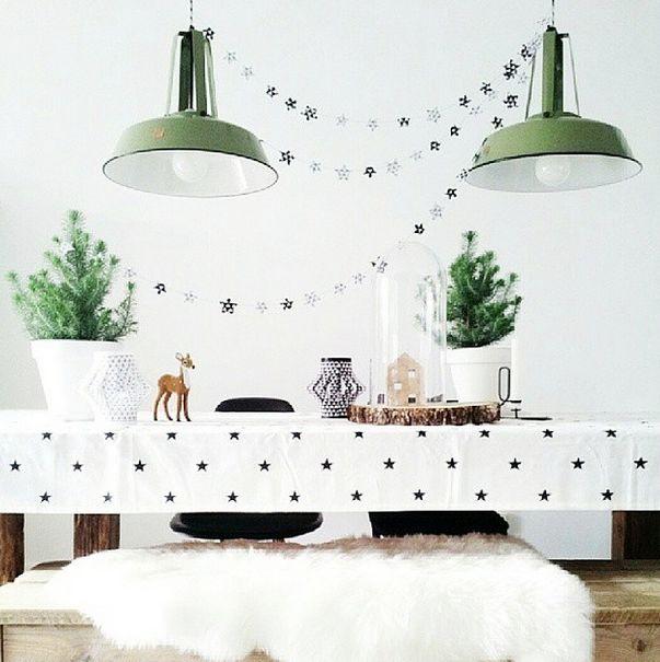 kerst inspiratie 2014 zwart wit. Dat tafelkleed is leuk !
