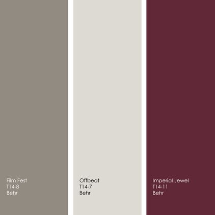 Article about colour schemes - Jennifer Ott Interior Design - love this grey/maroon combo