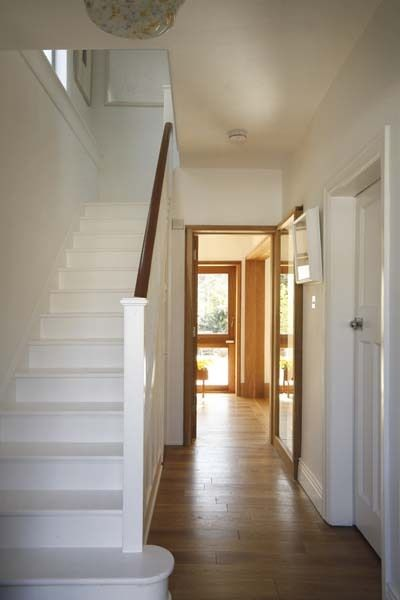 white walls - natural trim --- I think this would brighten the house versus the dark steps. Refurbishment of a 1930's House, Dublin by CASTarchitecture , via Behance