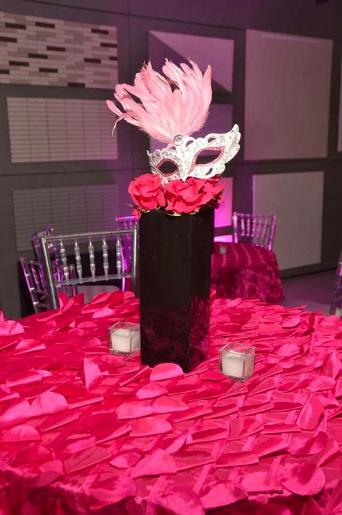 Pretty Pink and Black amazing masquerade centerpiece ...