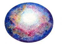 146 galactische hart in de kosmos  olieverf in reliëf op doek  ©Healingart Willeke Hendrikx