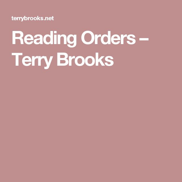 Reading Orders – Terry Brooks