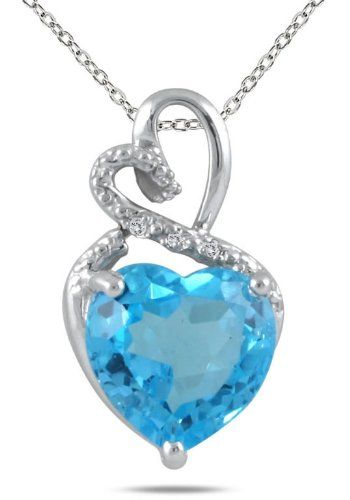 4.00 Carat Blue Topaz and Diamond Heart Pendant in .925 Sterling Silver: