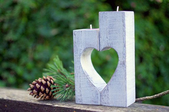 Wooden Candle holder vintage Heart candle von WoodMetamorphosisUK