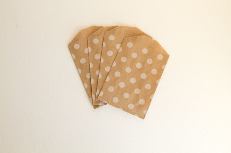 Small Polka Dot Party Treat Bags - White on Kraft Paper