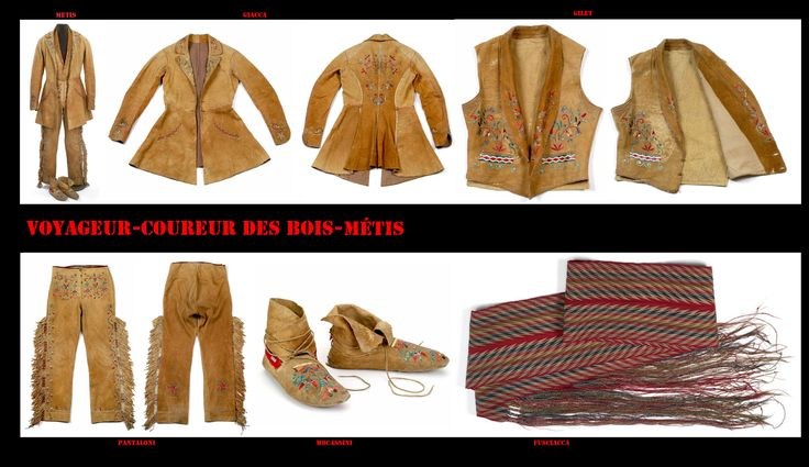 Vestito completo da uomo dei Métis Red River. Il taglio richiama i modelli europei dell'epoca mentre le calzature, il materiale, le decorazioni, e gli accessori richiamano alle tradizioni dei Nativi (Cree).
