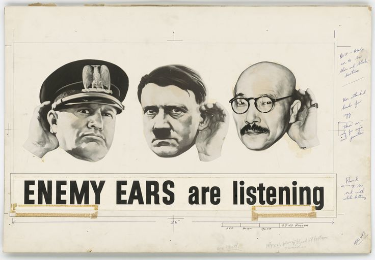 """Enemy Ears Are Listening"" US WWII poster planning stage c. 1942-1945 [3,150 x 2,193]"