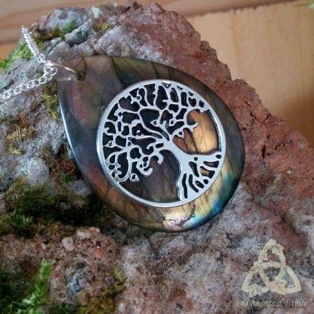 Collier pendentif elfique Ylhuen Natura Arbre de Vie argenté et labradorite…