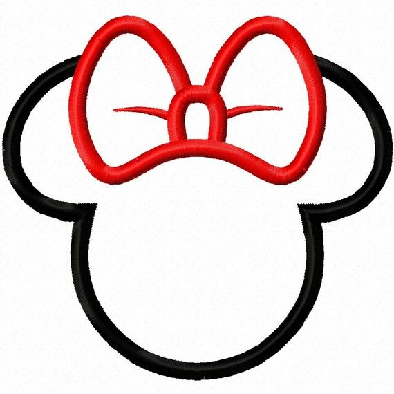 Girl Bow Mouse Head Silhouette Applique by DigitizingDolls on Etsy, $3.50