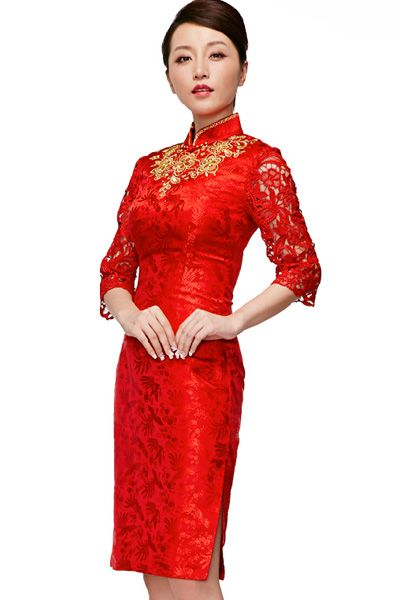 Bridal Wear, Wedding, Silk, Floral, Embroidery, Lace, Red, Qipao