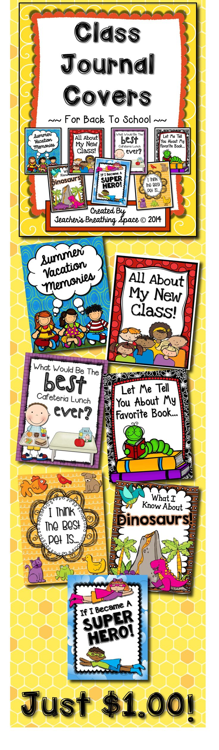 Whole Class Journal Covers for Back-To-School --- Writing Topics for August and September --- Just $1.00!