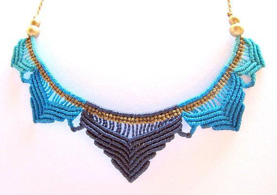 loto azul macrame collar boho hippie bohemio collar de micro macramé