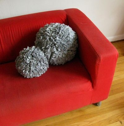 T-Shirt Sphere Pillow -  they are huge pom poms - recycle t-shirts
