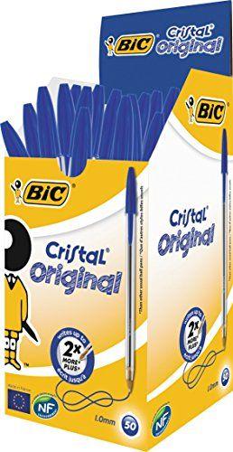 Bic Cristal Stylo à bille pointe moyenne Corps plastique transparent à capuchon Encre Bleu Lot de 50