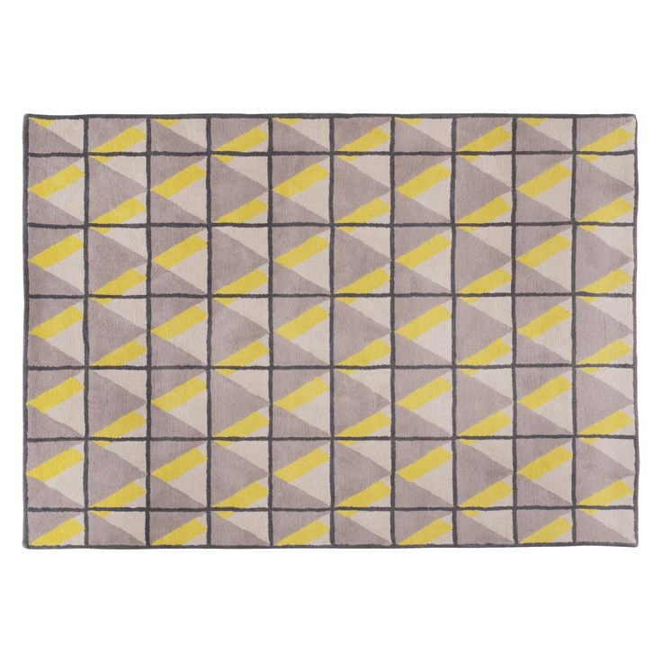 DOLOMITE Large yellow and grey wool rug 170 x 240cm