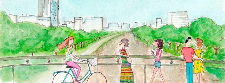 Verano es disfrutar de la ciudad. Un paseo santiaguino por el puente Racamalac.