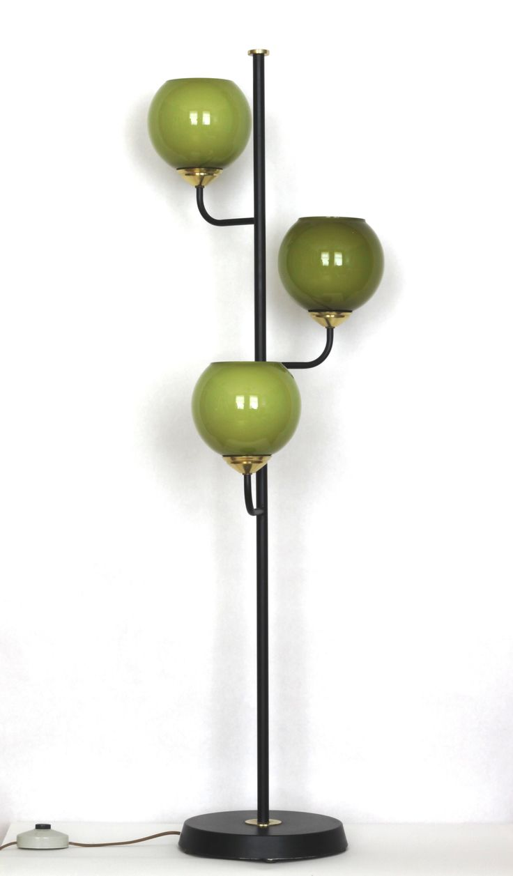 Anonymous; Glass, Brass and Enameled Metal Floor Lamp, 1960s.