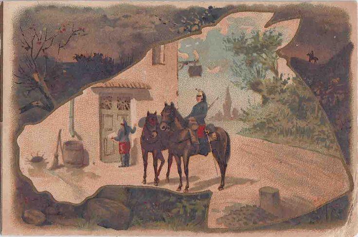 chromo chocolat l revault  - military man on horse inside horse shaped picture - romanet | par patrick.marks
