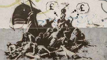 """Une des oeuvres de Banksy, inspirée du """"Radeau de la Méduse"""" de Géricault"""
