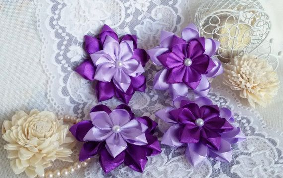Groom wedding boutonniere purple fabric boutonniere by Rocreanique