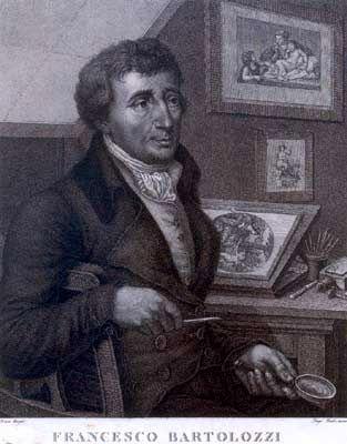 1- Francesco Bartolozzi (1727-1815) Self portrait, before 1815. Engraving. - § F. BARTOLOZZI - BIOGRAPHIE: Fils d'un orfèvre de Florence, après un apprentissage de 13 ans en peinture auprès de Domenico Ferretti, il constate qu'il est plus attiré par la gravure et il part à Venise pour parfaire son art. De 1745 à 1751, il travaille à Venise dans l'atelier de Joseph Wagner (1706-1780).