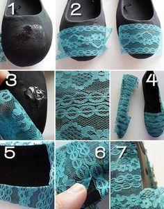 Relasé: Come decorare le scarpe con il merletto? - un idea geniale per riciclare vecchie ballerine