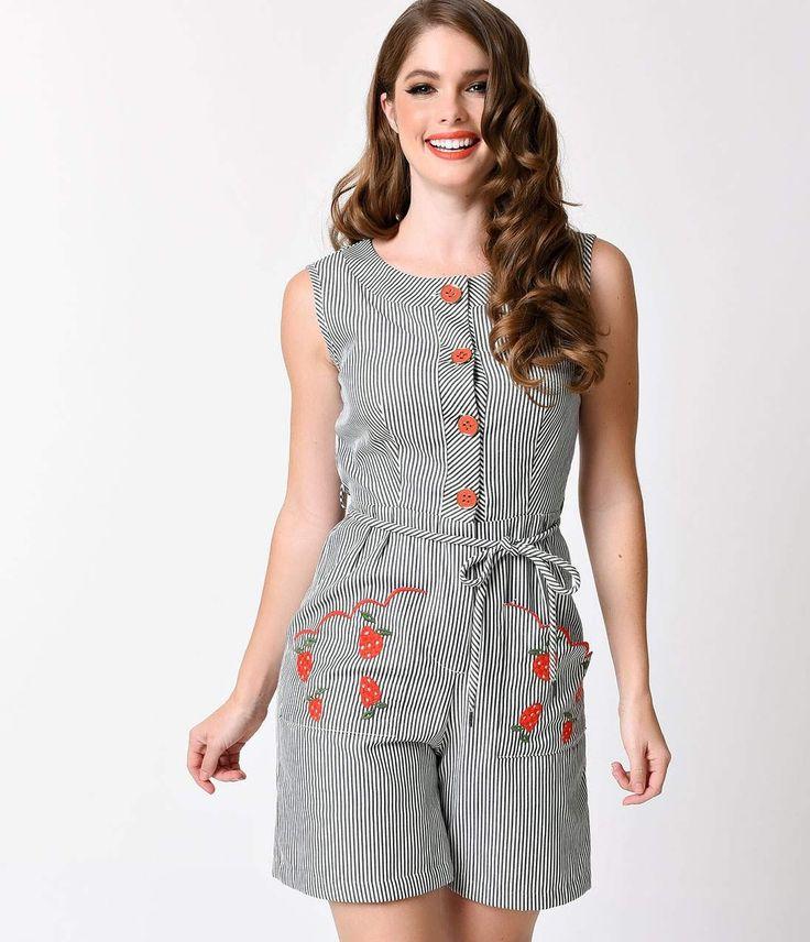 Unique Vintage 1950s Black Striped Strawberry Venice Playsuit - Rompers & Jumpsuits - Dresses - Clothing | Unique Vintage