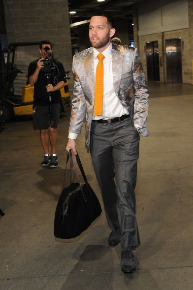 Jordan Farmar Christmas 2013 with the orange flat end tie