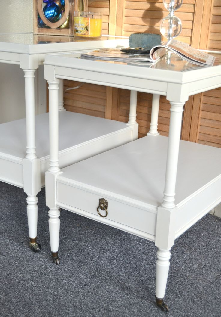 country white end table makeover