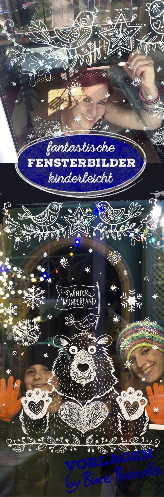 Mit den xxl Vorlagen von Bine Brändle ist das Malen von Fensterbildern mit dem Kreidemarker kinderleicht. Bringe mit Hilfe von Bines Vorlagen super einfach eine tolle Deko für den Winter und Weihnachten auf deine Fenster. Egal ob Handlettering, Kalligrafie, Eisbär, Vögel, Ranken... Illustration... die tollen vielseitigen Motive von Bine ganz einfach auf das Fenster übertragen.