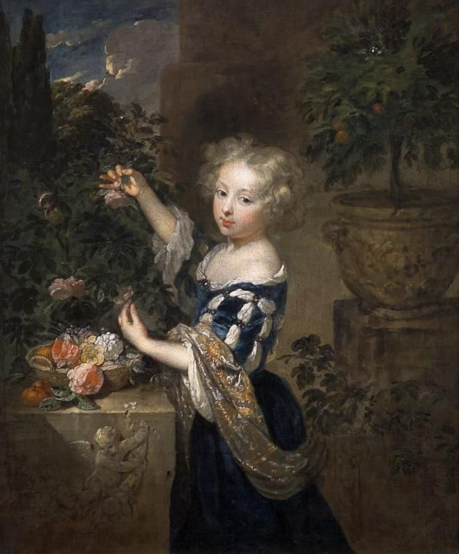 Girl arranging flowers,  Caspar Netscher.  Dutch Baroque Era Painter  (1635-1684)