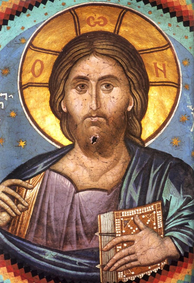 Pantokrator fresco from the Great Laura of Vatopedi Monastery, Mount Athos, Greece