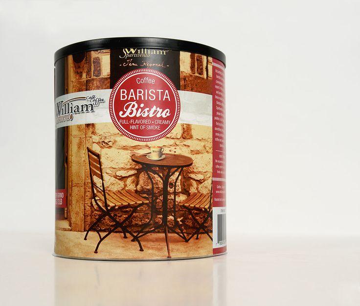 William Spartivento : Le nouveau café «Barista» de la marque William Spartivento apparaît en 2012, dans un nouveau format, soit une canne. La direction artistique propose un style rappelant un bistro à l'ancienne, tout approprié pour se coller au branding historique de William Spartivento.