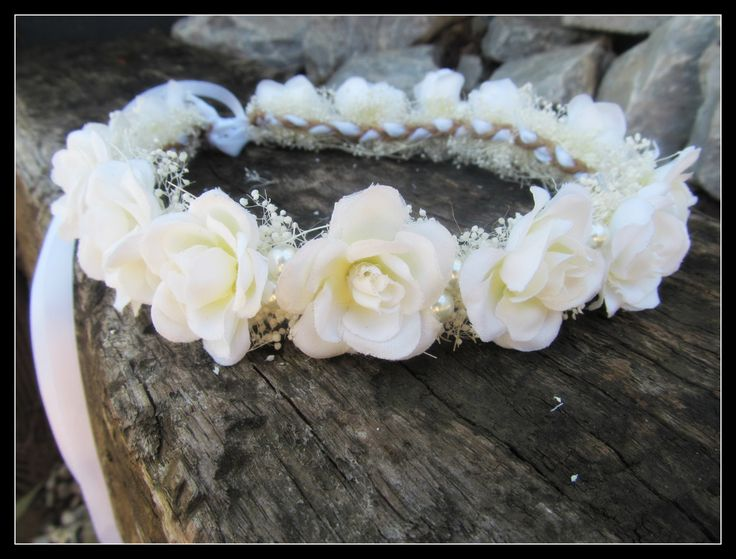 New to dieselboutique on Etsy: white rose crown wedding crown rose flower crown bridal crown first communion bridesmaid  white flower crown pearl baby's breathe (36.99 USD)