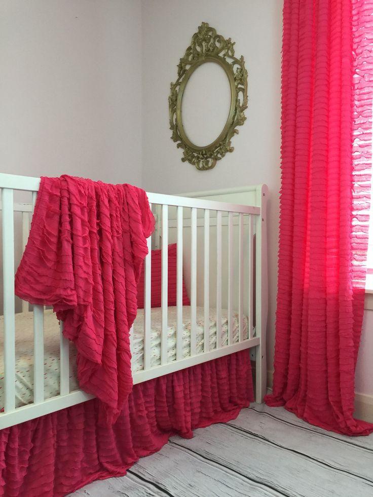 Ruffle Baby Bedding - Hot Pink