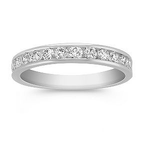 channel set diamond platinum wedding band.