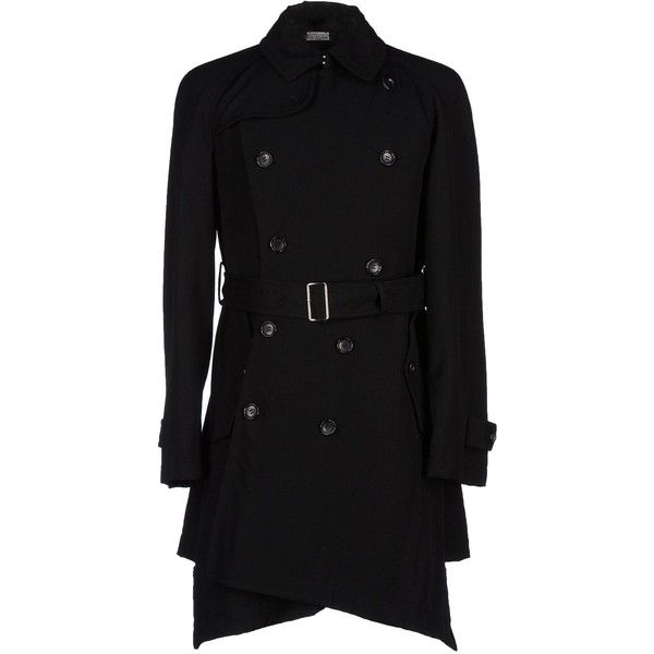 Comme Des Garçons Homme Plus Coat ($1,004) ❤ liked on Polyvore featuring men's fashion, men's clothing, men's outerwear, men's coats, black, mens wool trench coat, mens trench coat, mens wool coat, mens double breasted trench coat and mens fur collar coat