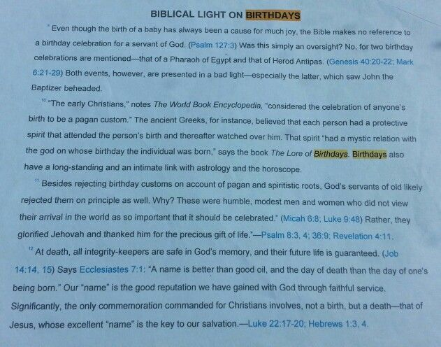 Why Jehovah's witnesses do not celebrate Birthdays.