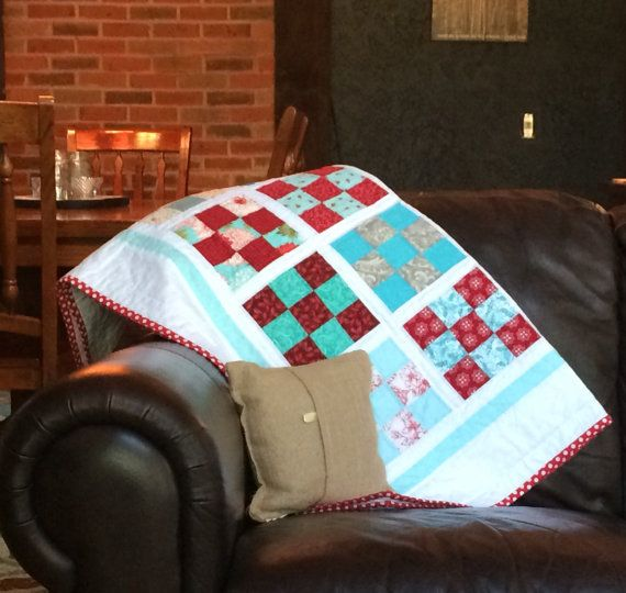AquaRed Patchwork Quilt  Nine Patch  Baby Quilt  by Painting4him