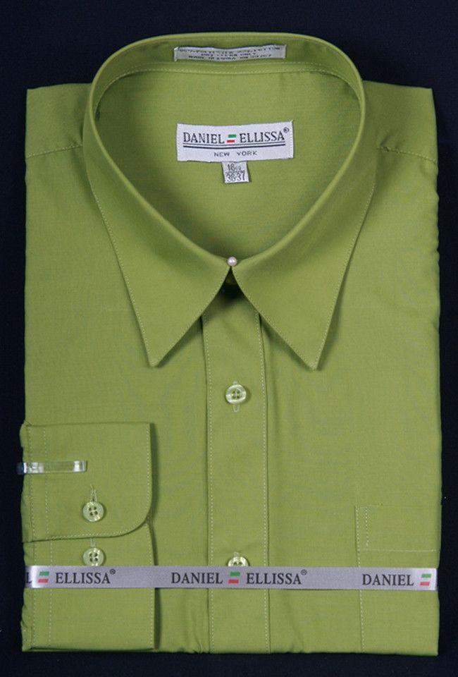 Men 39 S Lime Green Long Sleeve Dress Shirt Green Long