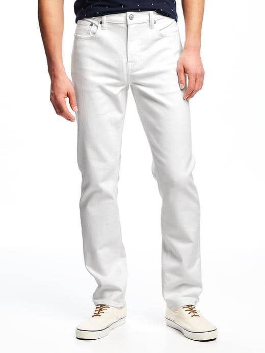 Slim Built-In Flex Stay-White Jeans for Men