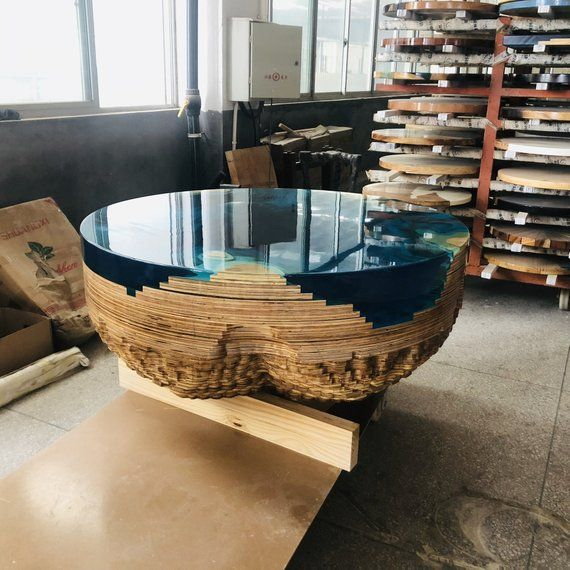 Unique Artwork Customized Plywood Round Coffee Table Creative Clear Blue Epoxy Resin Table with