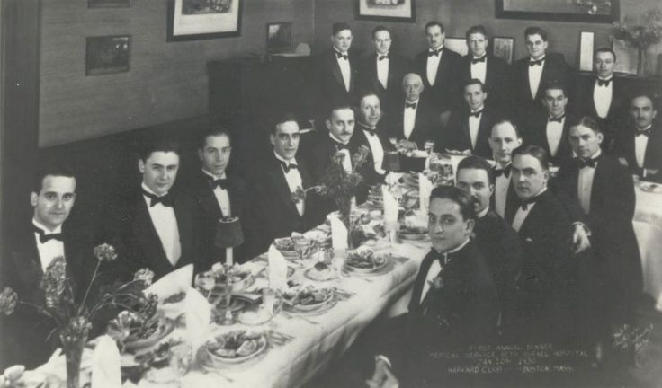 Photo of the first annual dinner of the medical service of Beth Israel Hospital, 1930, an event that included many who were to become the mainstay of the staff and leaders of the Boston medical community. A theme of the evening was the new hospital's goal: To ensure delivery of the highest quality of patient care.