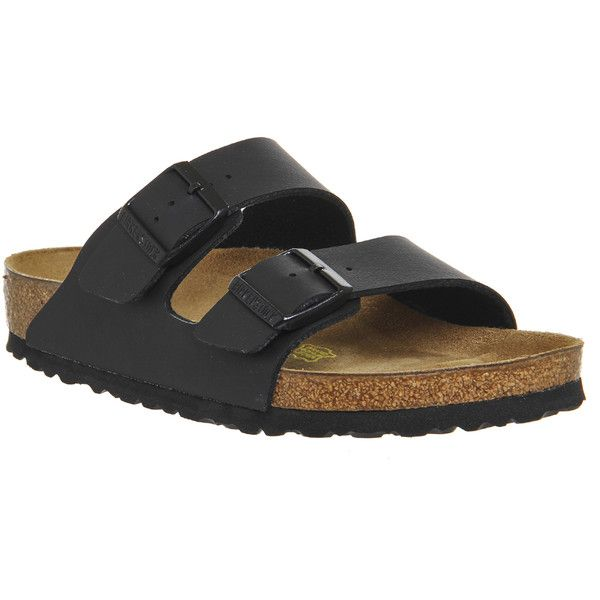 Birkenstock Arizona Two Strap ($78) ❤ liked on Polyvore featuring shoes, sandals, black birko regular, women, black sandals, birkenstock shoes, kohl shoes, birkenstock sandals and birkenstock